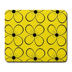 Yellow floral pattern Large Mousepads