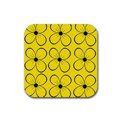 Yellow floral pattern Rubber Coaster (Square)
