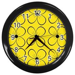 Yellow floral pattern Wall Clocks (Black)