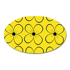 Yellow floral pattern Oval Magnet