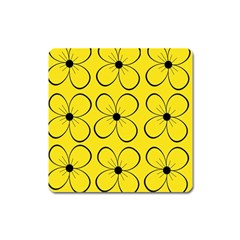 Yellow floral pattern Square Magnet