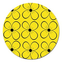 Yellow floral pattern Magnet 5  (Round)