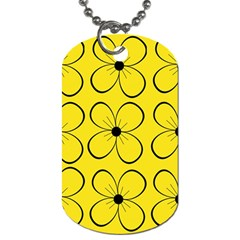 Yellow floral pattern Dog Tag (Two Sides)