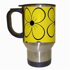 Yellow floral pattern Travel Mugs (White)