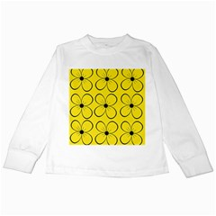 Yellow floral pattern Kids Long Sleeve T-Shirts
