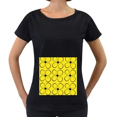 Yellow floral pattern Women s Loose-Fit T-Shirt (Black)