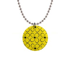 Yellow floral pattern Button Necklaces