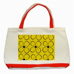 Yellow floral pattern Classic Tote Bag (Red)