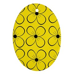 Yellow floral pattern Oval Ornament (Two Sides)