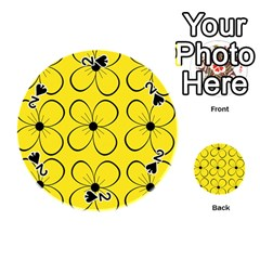 Yellow floral pattern Playing Cards 54 (Round)