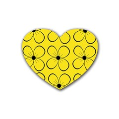 Yellow floral pattern Rubber Coaster (Heart)