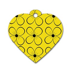 Yellow floral pattern Dog Tag Heart (One Side)