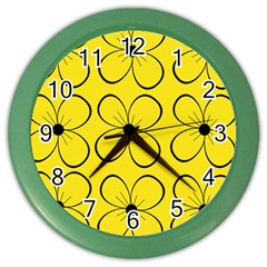 Yellow floral pattern Color Wall Clocks