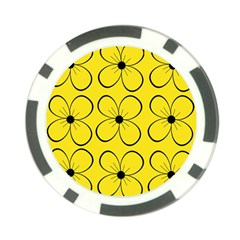 Yellow floral pattern Poker Chip Card Guards
