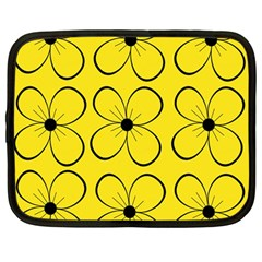 Yellow floral pattern Netbook Case (Large)