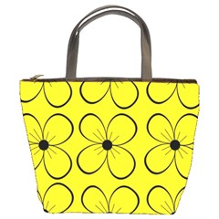 Yellow floral pattern Bucket Bags