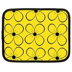 Yellow floral pattern Netbook Case (XL)