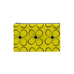 Yellow floral pattern Cosmetic Bag (Small)