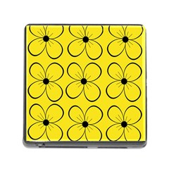 Yellow floral pattern Memory Card Reader (Square)