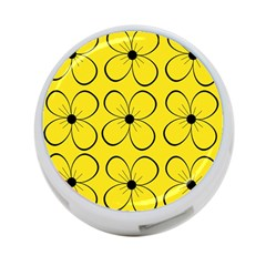 Yellow floral pattern 4-Port USB Hub (Two Sides)
