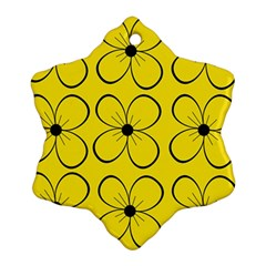 Yellow floral pattern Snowflake Ornament (2-Side)