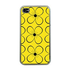 Yellow floral pattern Apple iPhone 4 Case (Clear)