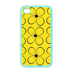Yellow floral pattern Apple iPhone 4 Case (Color)