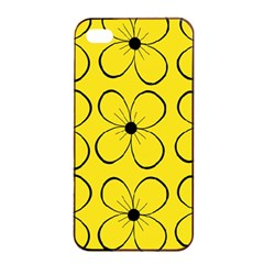 Yellow floral pattern Apple iPhone 4/4s Seamless Case (Black)
