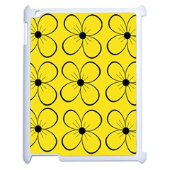 Yellow floral pattern Apple iPad 2 Case (White)