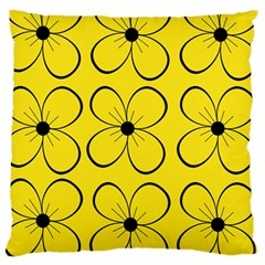 Yellow floral pattern Large Cushion Case (Two Sides)