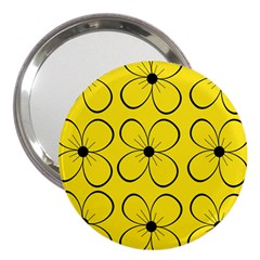 Yellow floral pattern 3  Handbag Mirrors