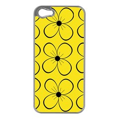 Yellow floral pattern Apple iPhone 5 Case (Silver)