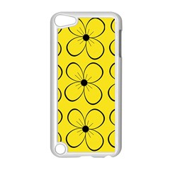 Yellow floral pattern Apple iPod Touch 5 Case (White)