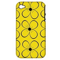 Yellow floral pattern Apple iPhone 4/4S Hardshell Case (PC+Silicone)