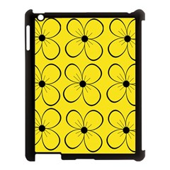 Yellow floral pattern Apple iPad 3/4 Case (Black)