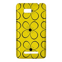Yellow floral pattern HTC One SU T528W Hardshell Case