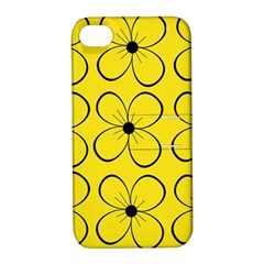 Yellow floral pattern Apple iPhone 4/4S Hardshell Case with Stand