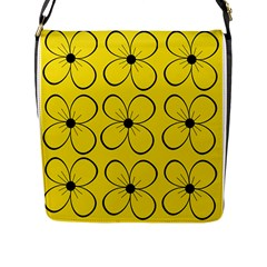 Yellow floral pattern Flap Messenger Bag (L)