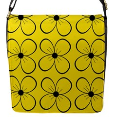Yellow floral pattern Flap Messenger Bag (S)