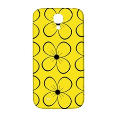 Yellow floral pattern Samsung Galaxy S4 I9500/I9505  Hardshell Back Case