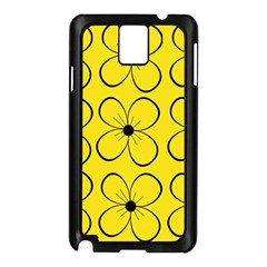 Yellow floral pattern Samsung Galaxy Note 3 N9005 Case (Black)