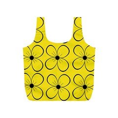 Yellow floral pattern Full Print Recycle Bags (S)