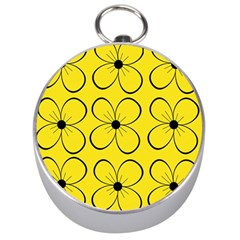 Yellow floral pattern Silver Compasses