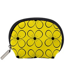 Yellow floral pattern Accessory Pouches (Small)