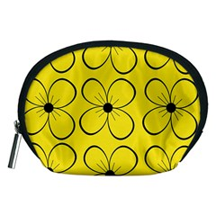 Yellow floral pattern Accessory Pouches (Medium)