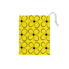 Yellow floral pattern Drawstring Pouches (Small)