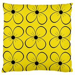 Yellow floral pattern Large Flano Cushion Case (Two Sides)