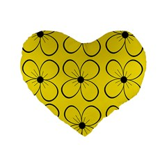 Yellow floral pattern Standard 16  Premium Flano Heart Shape Cushions