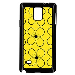Yellow floral pattern Samsung Galaxy Note 4 Case (Black)