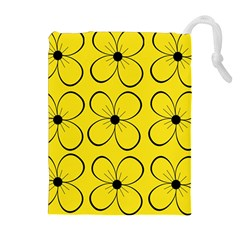 Yellow floral pattern Drawstring Pouches (Extra Large)